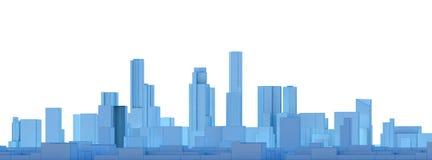 Błękitny niski poli- miasto krajobraz z białym tłem Obrazy Stock