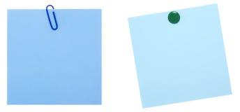 błękitny notatka ciąć na arkusze dwa Obraz Stock