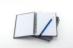 Błękitny notatnik i ołówek Obraz Royalty Free
