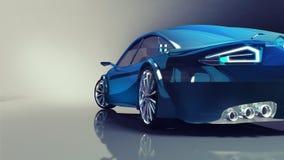 Błękitny nowożytny samochodu plecy zbliżenie na iluminującym tle Zdjęcia Stock