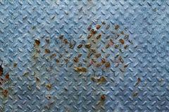Błękitny ośniedziały metal ściany tło Fotografia Royalty Free
