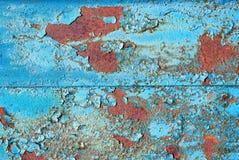 Błękitny Ośniedziały metal tekstury tło niebieska tła abstrakcyjne stary malujący metal w błękicie Stara krakingowa błękitna farb obraz royalty free