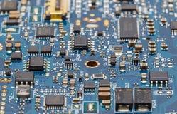 Błękitny obwód deski zakończenie Up (PCB) Obraz Stock