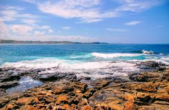 Błękitny ocean przy Wollongong na letnim dniu obraz royalty free