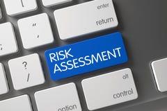 Błękitny ocena ryzyka klucz na klawiaturze 3d Fotografia Stock