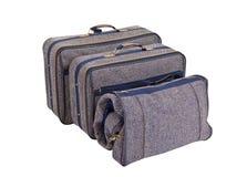błękitny odosobniony ustalony walizki tweedu rocznik Zdjęcia Royalty Free