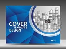 Błękitny okładkowy szablon dla biznesowego przemysłu, Real Estate, budynek, dom, maszyneria Horyzontalny układ, broszurki ulotka royalty ilustracja