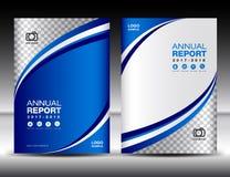 Błękitny Okładkowy szablon, okładkowy sprawozdanie roczne, okładkowy projekta biznes Fotografia Royalty Free