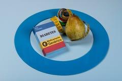 Błękitny okrąg z niektóre cukrzyc wyposażeniem robi traktowaniu choroba obrazy stock