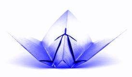 Błękitny origami samolot, papierowy handmade samolot odizolowywający na białym tle Zdjęcia Stock