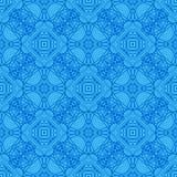 Błękitny Ornamentacyjny Bezszwowy linia wzór Obraz Stock