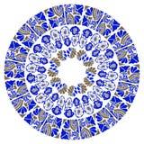 Błękitny ornamentacyjny round kwiecisty wzór royalty ilustracja