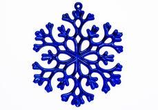 Błękitny płatka śniegu ornament odizolowywający na białym tle. Zdjęcia Royalty Free