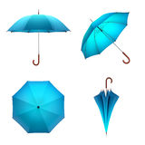Błękitny parasol odizolowywający na białym tle ilustracja 3 d ilustracja wektor