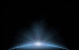 Błękitny planeta kosmosu wschód słońca ilustracji