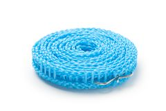 Błękitny plastikowy clothesline Zdjęcia Royalty Free