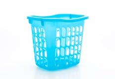 Błękitny plastikowy kosz Obrazy Stock