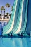 Błękitny plastikowy waterslide Zdjęcie Stock