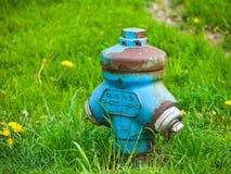 błękitny pożarniczy hydrant Obraz Stock