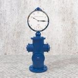 Błękitny pożarniczy hydrant z zegarem Fotografia Stock