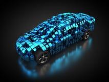 Błękitny pojazd z abstrakcjonistycznym carbody ilustracja wektor