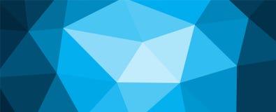 Błękitny poligonalny mozaiki tło z gradientem w środku Zdjęcie Stock