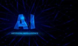 Błękitny poligonalny sztucznej inteligenci konceptualny sztandar z AI niskimi poli- symbolami ilustracja wektor