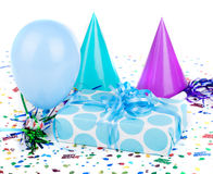 Błękitny polki kropki prezent urodzinowy Fotografia Stock