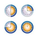 Błękitny pomarańczowy szklany zegar ilustracja wektor
