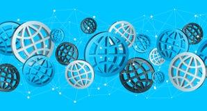 Błękitny popielaty i czarny cyfrowy sieci ikon '3D rendering' Fotografia Royalty Free