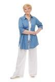 błękitny portreta starszy koszulowy ja target2198_0_ Zdjęcia Royalty Free