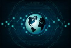 Błękitny projekt z sylwetką kuli ziemskiej i abstrakta sieć internet Zdjęcia Stock