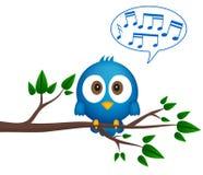 Błękitny ptasi obsiadanie na gałązce, śpiewa ilustracji