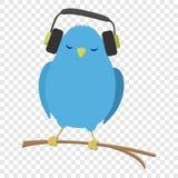 Błękitny Ptasi słuchanie muzyka ilustracji