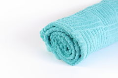 Błękitny ręcznik lub składający błękitny ręcznik Fotografia Royalty Free