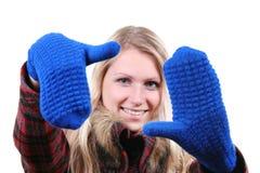błękitny rękawiczki wręczają jej kobiety Fotografia Stock