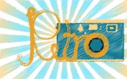 Błękitny retro, modniś, antyk, kamera malująca w muskającym stylu przeciw błękitnym promieniom i retro słowo, stara, antykwarska, ilustracji