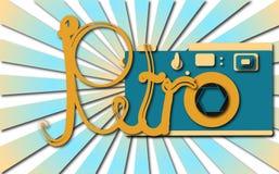 Błękitny retro, modniś, antyk, kamera z cieniem i retro słowo przeciw błękitnym promieniom, stara, antykwarska, royalty ilustracja