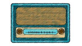Błękitny retro, modniś, antyk, stary, antykwarski, analogowy, muzyczny radio od 60 s `, 70 s ` malujący w muskającym stylu na bia ilustracja wektor