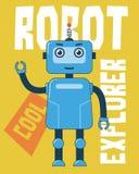 Błękitny robota badacz ilustracja wektor