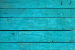 Błękitny rocznik malował drewnianego panelu z horyzontalnymi deskami Zdjęcie Royalty Free