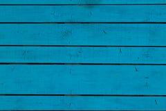 Błękitny rocznik malował drewnianego panelu z horyzontalnymi deskami Fotografia Stock