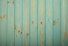 Błękitny rocznik malował drewnianego panelu z veryical deskami Fotografia Royalty Free