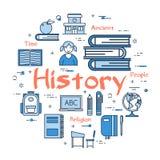 Błękitny round historia tematu pojęcie ilustracja wektor