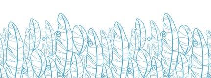 Błękitny rysujący piórko horyzontalny bezszwowy wzór ilustracja wektor