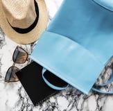 Błękitny rzemienny plecak zdjęcia royalty free