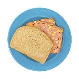 błękitny sera makaronu talerza kanapka Fotografia Royalty Free