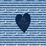 Błękitny serce na wektor paskującym wzorze Zdjęcie Royalty Free
