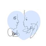 Błękitny serce z portreta nakreśleniem mężczyzna i kobieta Obraz Stock