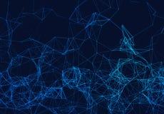 Błękitny sieć związek wykłada na czerni futurystyczny tło ilustracji